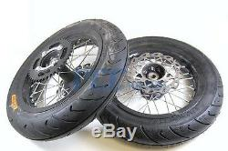 12 Motard Front Rear Tire Wheel Set Rotor 428 Sprocket Pit Bike M WMS03