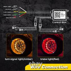 15.5 LED Wheel Ring Lights RGB Color Chasing Turn&Brake Signal Music Bluetooth