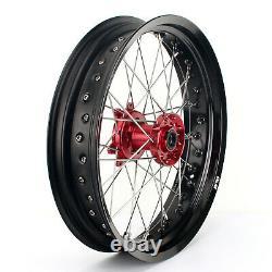 17 FOR Honda Supermoto Wheel Complete Set Rims Hubs Rotors CRF250 CRF450 R X