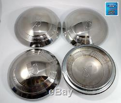 1940 1941 Ford Pickup Truck Set of 4 V8 Stainless Hubcaps 40 Ford Standard Car