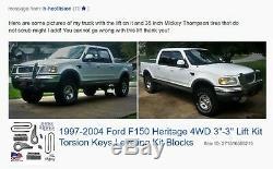 1997-2004 Ford F150 Heritage 4WD 3-3 Lift Kit Torsion Keys Leveling Kit Blocks