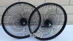 20 Lowrider Bicycle Dayton BLACK Wheels 144 Spokes Front & Rear Set 20x2.125