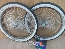 20 Lowrider Bicycle Dayton Chrome Wheels & White Walls 140 Spoke Front & Rear