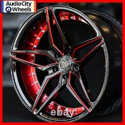 20 MARQUEE M3259 WHEELS BLACK RED RIMS 5x120 FIT CHEVY CAMARO SS