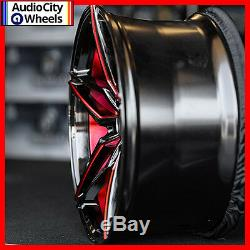 20 MQ 3259 WHEELS BLACK WITH RED INNER STAGGERED RIMS 5x114.3 FIT FORD MUSTANG