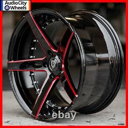 20 MQ M3226 WHEELS BLACK RED MILLED ACCENTS RIMS 5x114.3 FIT FORD MUSTANG