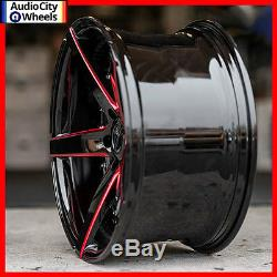 20 MQ M3226 WHEELS BLACK RED MILLED STAGGERED DEEP CONCAVE 5x115 FIT 300C SRT