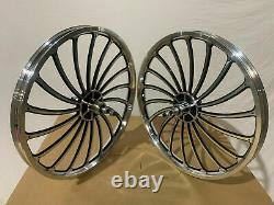 20 x 32mm BMX Front & Rear Freewheel Alloy Wheels 18 spokes chrome / Black M01B