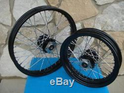 21 & 16 Black Rim Hub Front / Rear Wheel Set Harley Softail Fxst Fxdwg 1984-99