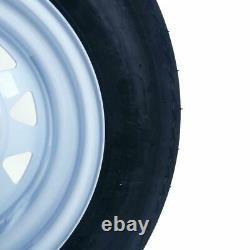 2 5.30-12 LRC Bias Trailer Tires on 12 5 Lug White STP Wheels 5.30x12