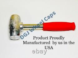 2 Bar Cut Chrome Knock-Off Spinners & Red Lead Hammer for Lowrider Wire Wheel