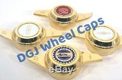 2 Bar Cut Gold Knock-offs Spinners for Lowrider Wire Wheels
