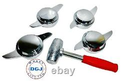 2 Bar Smooth Chrome Knock-Off Spinners & Red Lead Hammer for Lowrider Wire Wheel
