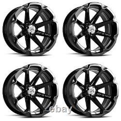 4 ATV/UTV Wheels Set 14in MSA M12 Diesel Black 4/110 10mm IRS