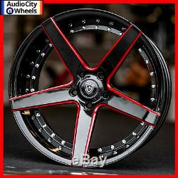 4pcs 20 MQ M3226 WHEELS BLACK RED MILLED ACCENTS STAGGERED RIMS 5x115 FIT 300C