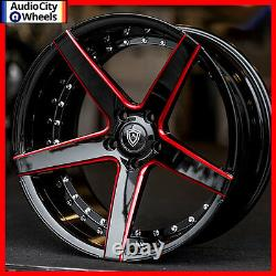 4pcs 20 Marquee Wheels M3226 BLACK RED MILLED RIMS 5x114.3 FIT LEXUS RC 350