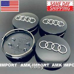 4x PC Black Chrome Wheel Rim Replacement Center Hub Caps for Audi 60MM 4B0601170