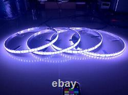 4x RGB Double Row 17.5 LED Wheel Lights 4Rings For Truck Bluetooth Control IP68