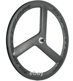 56mm Tri spoke Carbon Wheels Wheelset Front+Rear Track/Road Bike Clincher 700C