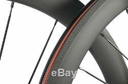 700C 50mm Clincher Carbon Fiber Wheels Road Bicycle Carbon Front&Rear Wheelset