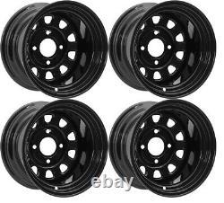 ATV Rims UTV Wheels 12 Front Rear Black ITP Delta 4/110 12x7 4+3 Yamaha Rhino