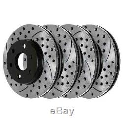 Auto Shack Front Rear Drilled Slotted Brake Rotor Bundle 6 Stud 4 Wheel Disc