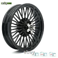Black Front Rear Wheel Rim Set 21X3.5 & 16X3.5 For Harley Dyna Softail Touring