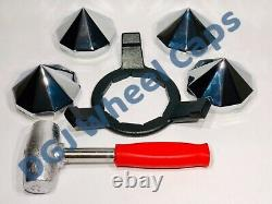 Bullet Knock-Off Spinner Caps, Wrench and Lead Hammer for Lowrider Wire Wheels