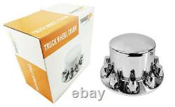 Chrome Semi Truck Hub Cover Wheel Kit Axle Cover 33mm Lug Front & Rear Complete