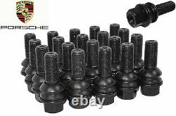 Complete Set Of Porsche Cayenne OEM 14x1.5 R14 Lug Bolts Black With Swivel Washer