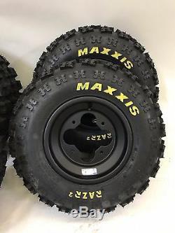 DWT A5 Black Wheels Rims Maxxis Razr 2 Tires Front/Rear XC Kit Raptor 700 YFZ450