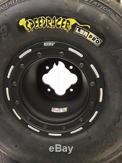 DWT G3 Black Beadlock Front Rear Rims Wheels Speed Racer Street Tires YFZ Raptor