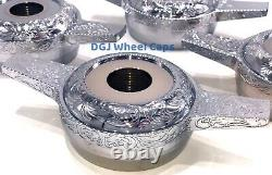 Engraved Zenith Cut Chrome Knock-Off Spinners for Lowrider Wire Wheels