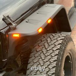 FOR 07-18 JEEP WRANGLER JK 4PCS POCKET-RIVETED STYLE WHEEL FENDER FLARES With LED