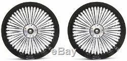 Fat Spoke 16 Front/rear Wheel Set Black Harley Softail Fat Boy Heritage Deluxe