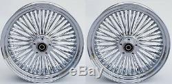 Fat Spoke Chrome 16 Front/rear Wheel Set Harley Softail Heritage Fat Boy 00-06