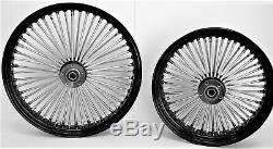 Fat Spoke Wheels 21 & 16 Black Front/rear Harley Sportster Dyna Super Glide Low