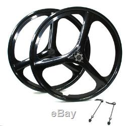 Fit Rear&Front 26 MTB Bike Magnesium Wheels 3-Spoke Set Rim Wheelset 6/7 Gears
