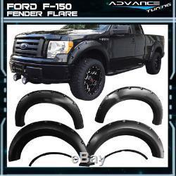 For 09-14 Ford F150 Pocket Rivet Style Fender Flares Black 4PCS PP