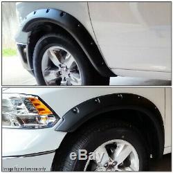 For 2009-2019 Ram Truck 1500 4pcs Matte Pocket-riveted Style Wheel Fender Flares