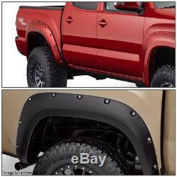 For 2016-2017 Toyota Tacoma 4pcs Pocket Riveted Wheel Fender Flares Matte Black
