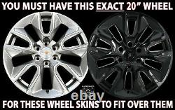 For Chevrolet Silverado 1500 2019-2021 Black 20 Wheel Skins Hub Caps Rim Covers