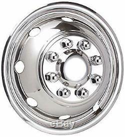 Ford-E350-E450-RV-Motorhome-16 8 hole Stainless-Dually-Wheel-Simulators-SNAP ON