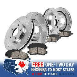 Front+Rear Drill Slot Brake Rotors And Ceramic Pads For 1963 1982 Corvette C3