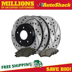 Front Rear Drilled Slotted Rotors Ceramic Pads for 1997-2003 Pontiac Grand Prix