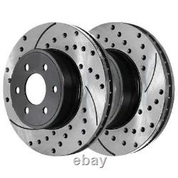 Front Rear Drilled Slotted Rotors Ceramic Pads for 1999-2005 2006 Silverado 1500