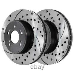 Front Rear Drilled Slotted Rotors Ceramic Pads for 2002-2005 2006 Acura RSX Base