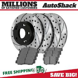 Front Rear Drilled Slotted Rotors Ceramic Pads for 2004-2006 2007 2008 Acura TSX