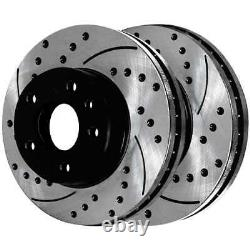 Front Rear Drilled Slotted Rotors Ceramic Pads for 2011-2015 2016 Ford Explorer