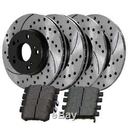 Front Rear Drilled Slotted Rotors and Ceramic Pads for 1999-2002 2003 Acura TL